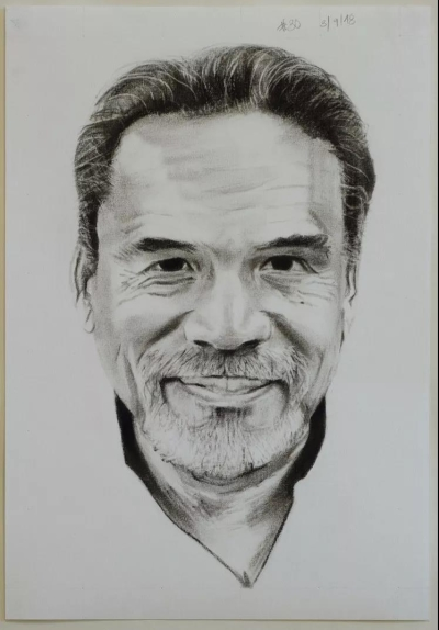 Self-David Rodriguez #30, charcoal and graphite on paper, 27x38cm