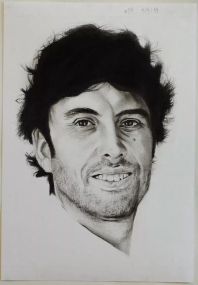 Self-David Rodriguez #34, charcoal and graphite on paper, 27x38cm